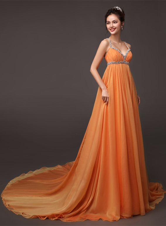 Spaghetti Straps Beading Ruffles A-Line Chapel Train Long Evening Dress