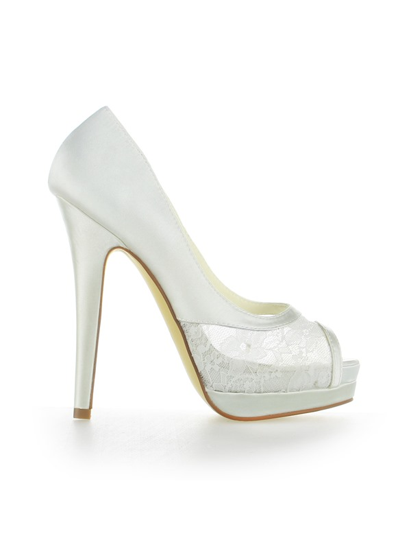 Trendy Lace Patchwork Peep-Toe Wedding Shoes