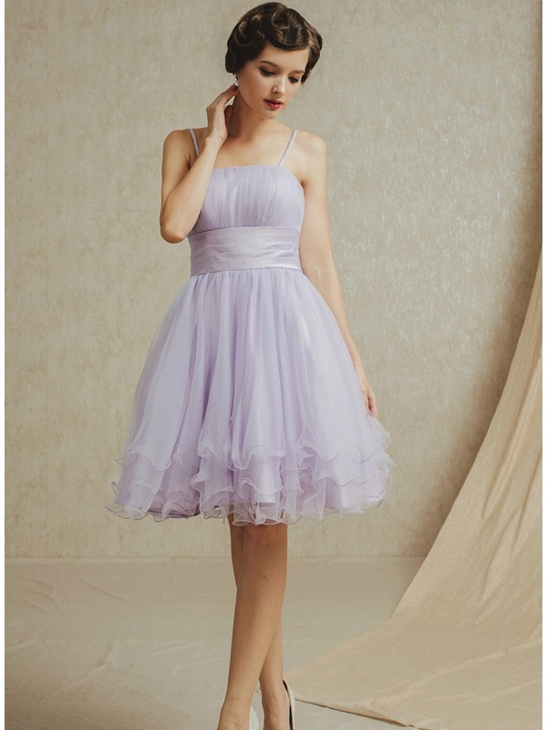 Simple A-Line Spaghetti Straps Knee Length Short Bridesmaid Dress