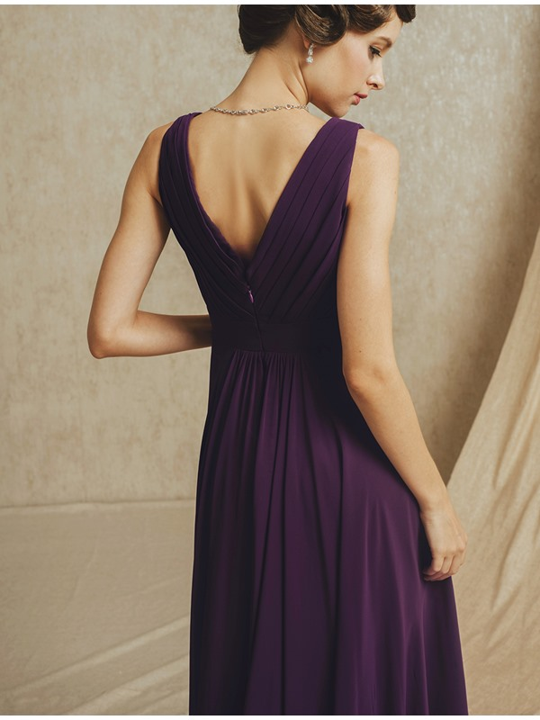 Simple Style V-Neck Straps Ruffles A-Line Floor Length Bridesmaid Dress(Free Shipping)