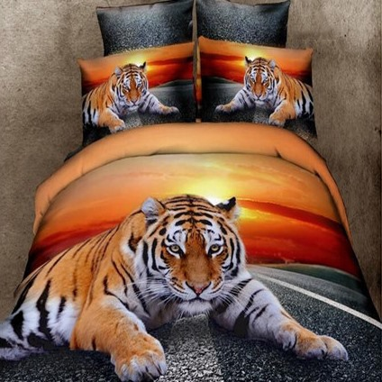 Classy Lying Tiger Print 4-Piece 3D Duvet Cover Sets(Free Shipping)