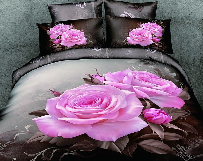 Romantic Blooming Pink Rose 4-Pieces Bedding Set(Free Shipping)