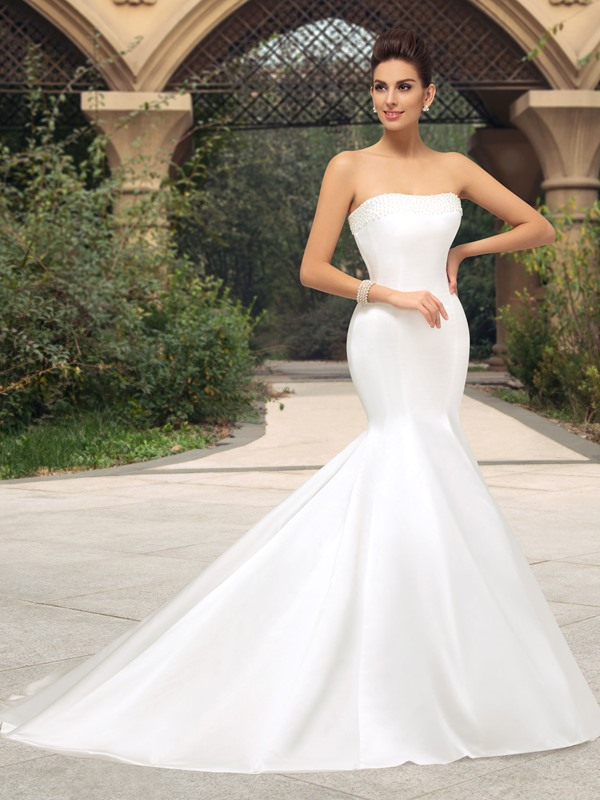 Pearl Beaded Strapless Mermaid Ivory Wedding Dress(Free Shipping)