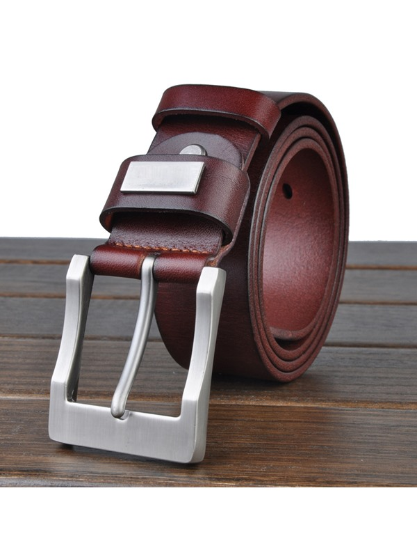Solid Color Metal Buckle Belt