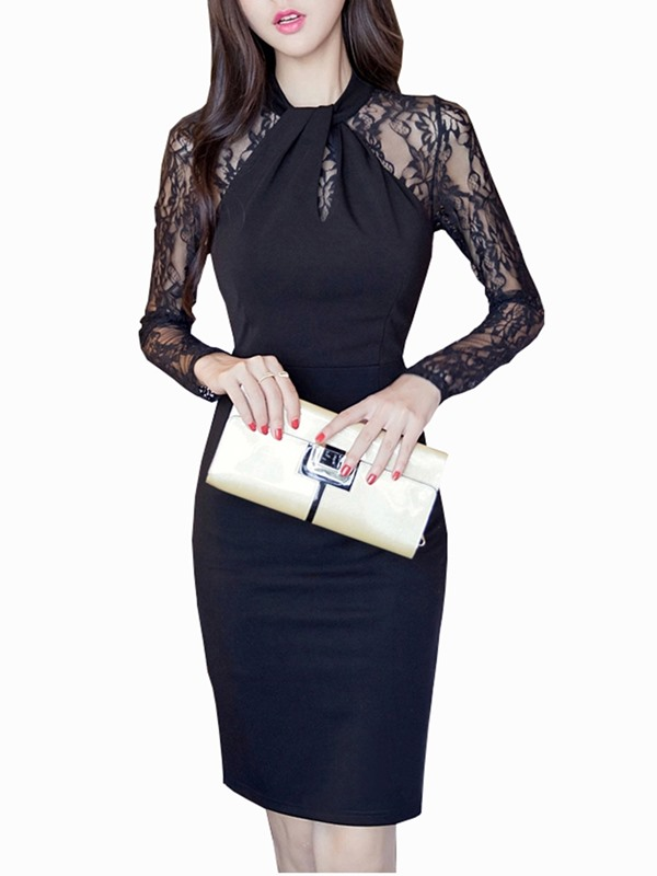 Lace Patchwork Hollow Long Sleeve Women's Sheath Dress