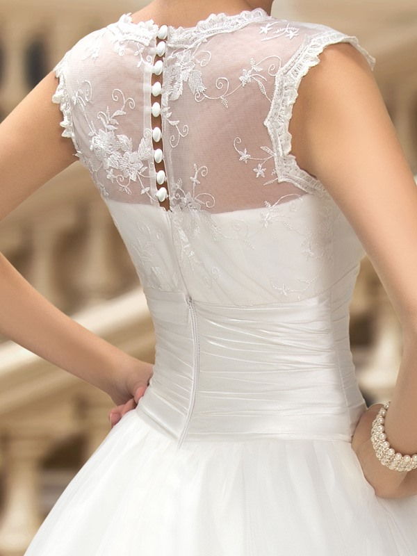 Dazzling V-Neck Button Sheer Back Floor Length A-Line Wedding Dress