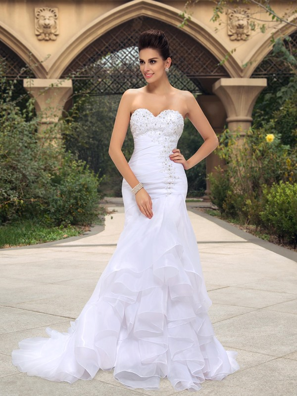 Beaded Appliques Mermaid Ruffles Wedding Dress
