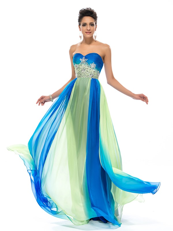 Dazzling Sweetheart Ruffles Beading A-Line Prom Dress Designed