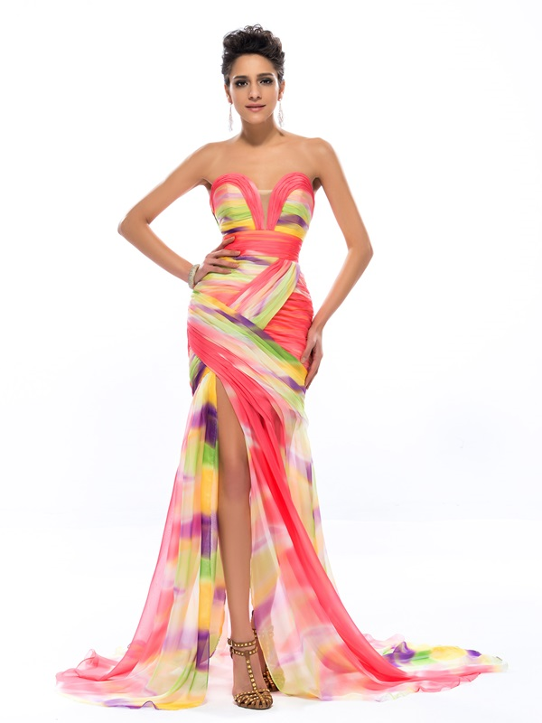Fashion Sweetheart Print Ruched Sweep Train Long Evening Dress Designed (Free Shipping)