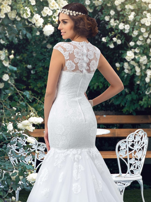 Jewel Neck Short Sleeve Sheer Lace Mermaid Wedding Dress(Free Shipping)
