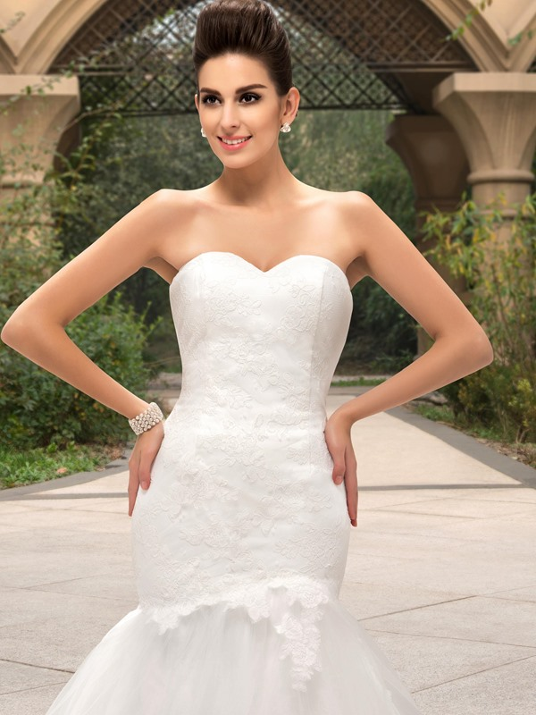Dazzling Strapless Sweetheart Lace Bodice Mermaid Wedding Dress