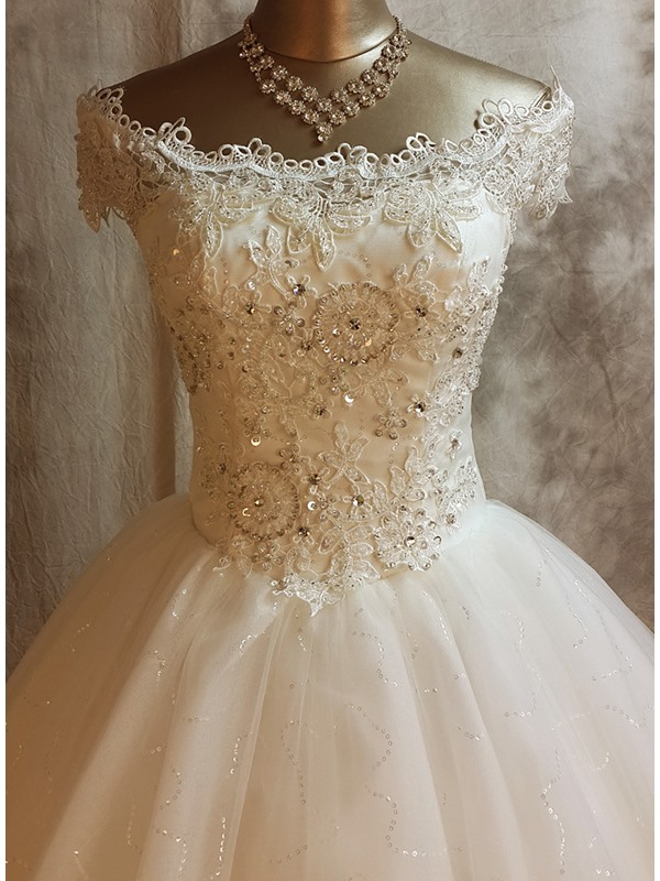Shiny Lace Appliques Off the Shoulder Cap Sleeves Wedding Dress