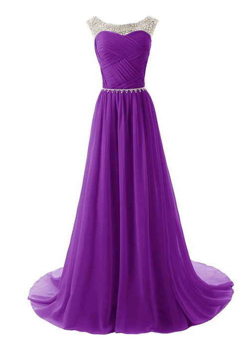 Beaded Straps Scoop Neck Pleats A-Line Sweep Train Prom Dress with Sparkling Embellished Waist