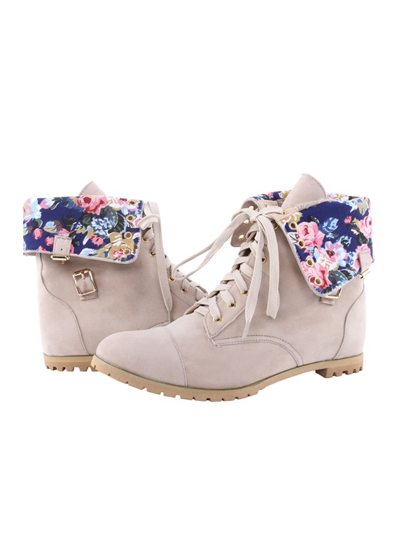 Floral Suede Lace-Up Booties