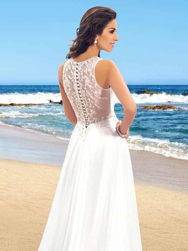 Beaded Buttoned Sheer Back Beach Wedding Dress