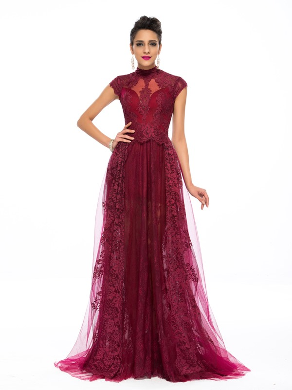 A-Line High Neck Appliques Lace Evening Dress