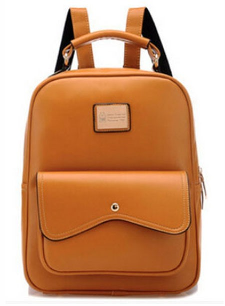 Cool Flap Pockets PU Casual Backpack