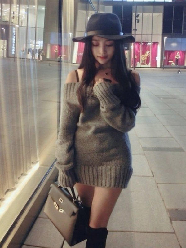 Boat Neck Long Sleeve Plain Women's Sweater Dress