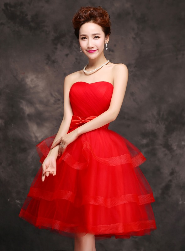 Strapless A-Line Tiered Bowknot Knee-Length Sweet 16 Dress
