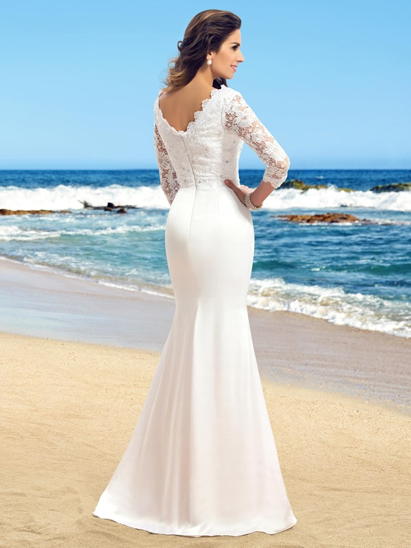 Lace Top 3/4 Length Sleeve Beaded Trumpet Beach Wedding Dress(Free Shipping)