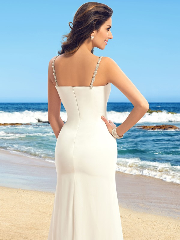 Beaded Spaghetti Straps V-Neck Beach Wedding Dress