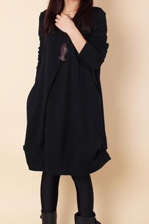 Solid Color Long Sleeve Women's Casual Dress