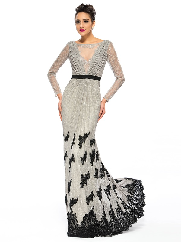 Luxurious Bateau Neckline Lace Long Sleeves Appliques Long Evening Dress