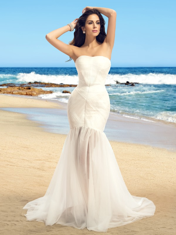 Simple Strapless Floor Length Pleats Beach Wedding Dress