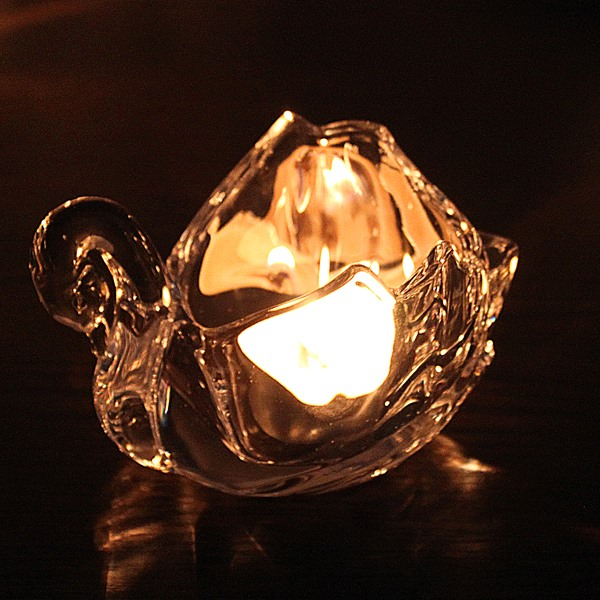 Nice Glass Swan Candle Holder