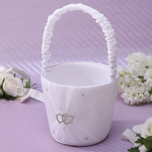 White Flower Basket in Satin With Rhinestones