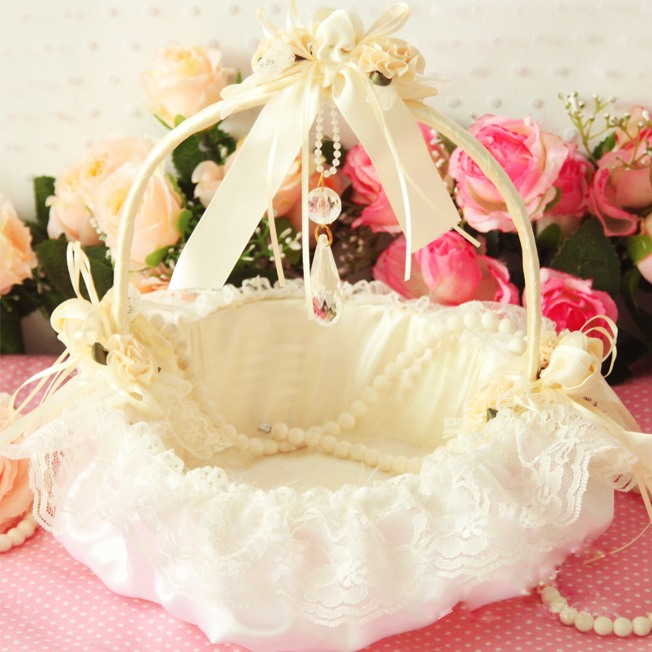 Beautiful Flower Basket in Satin & Lace With Bow