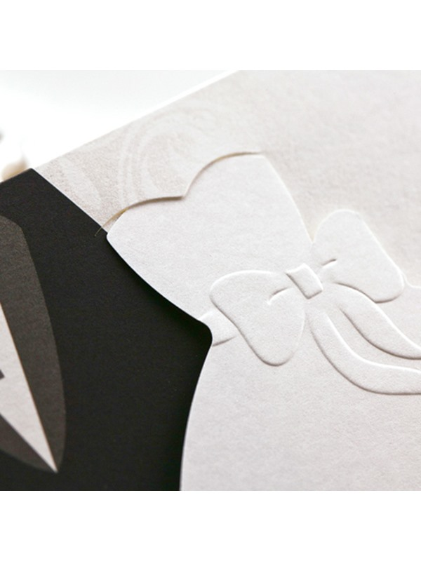 Bride & Groom Style Side Fold Wedding Invitation Cards (20 Pieces One Set)