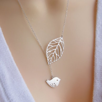 Classy Simple Style Leaf with Bird Women Necklace