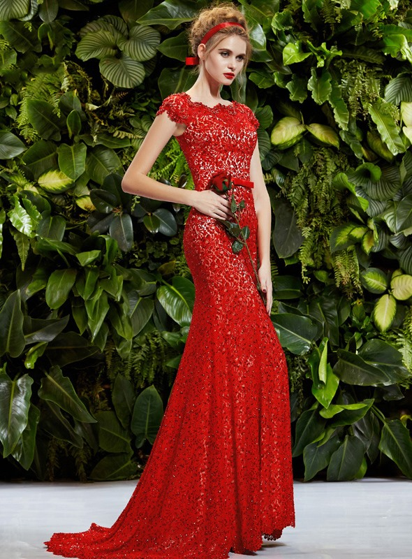 Luxurious Square Neckline Lace Sequins Mermaid Sweep Train Evening Dress
