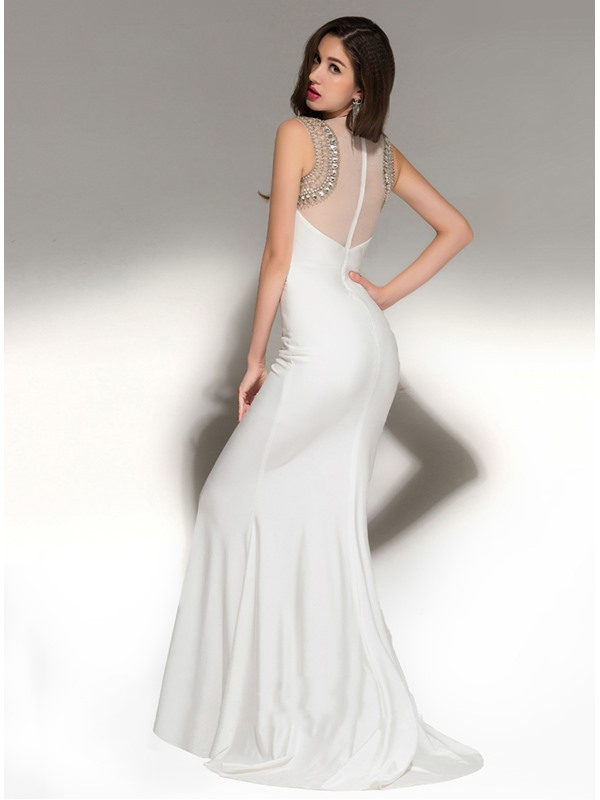 Sparking Bateau Neckline Sheath Beading Long Evening Dress