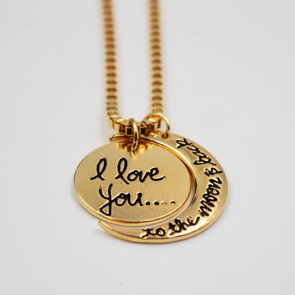 Romantic Love Letters Moon and Sun Necklace