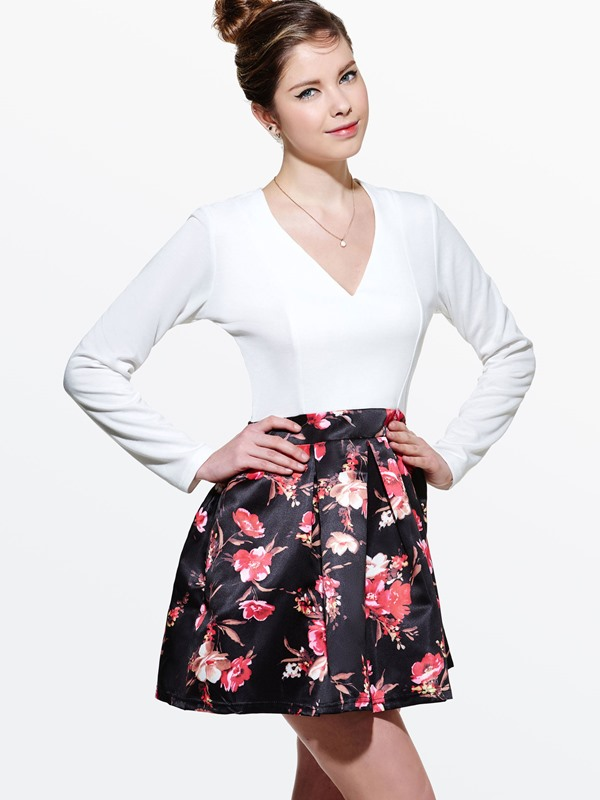 Floral Print Long Sleeve V-Neck Women's Skater Dress