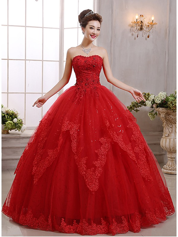 Strapless Floor Length Ball Gown Red Wedding Dress(Free Shipping)