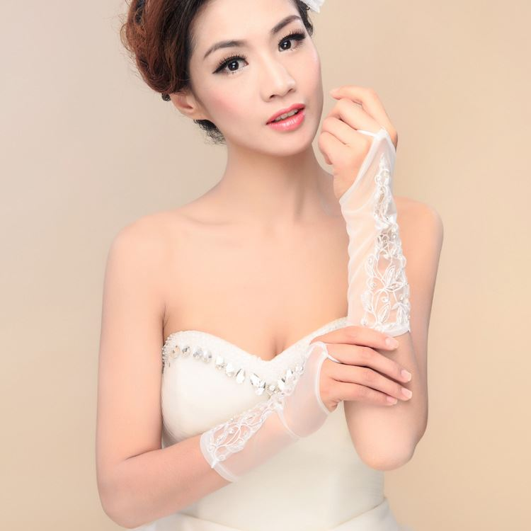 Fancy Appliques Fingerless Ivory Wedding Gloves
