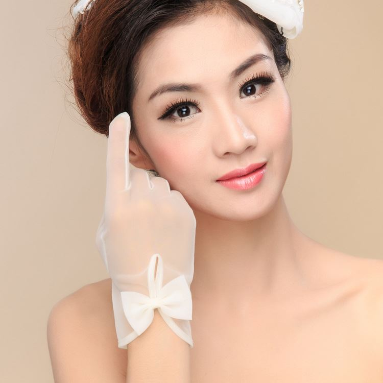 Bowknot Ivory Organza White Wedding Gloves