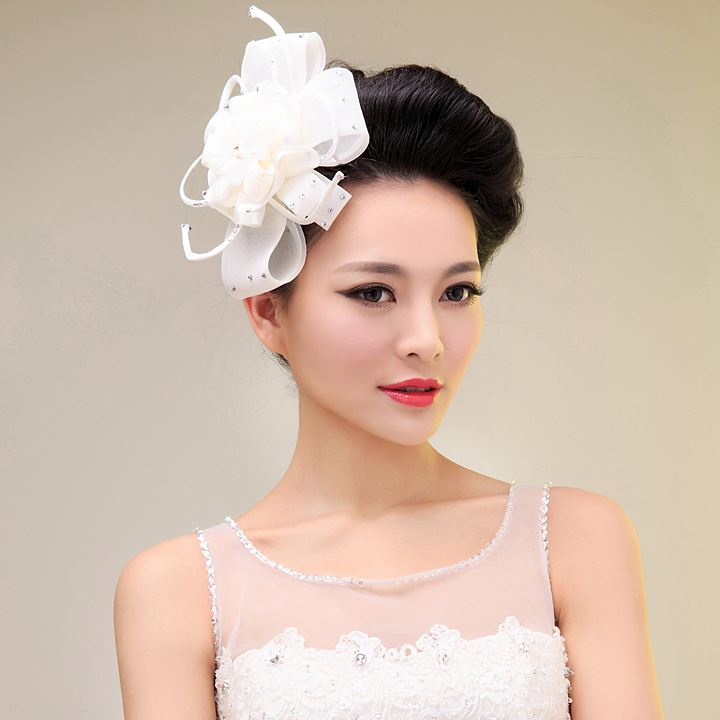 Beaded Ivory Organza Wedding Hair Flower