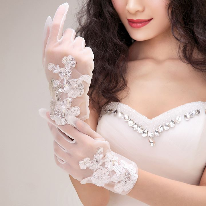 Appliques Sequin Wedding Gloves