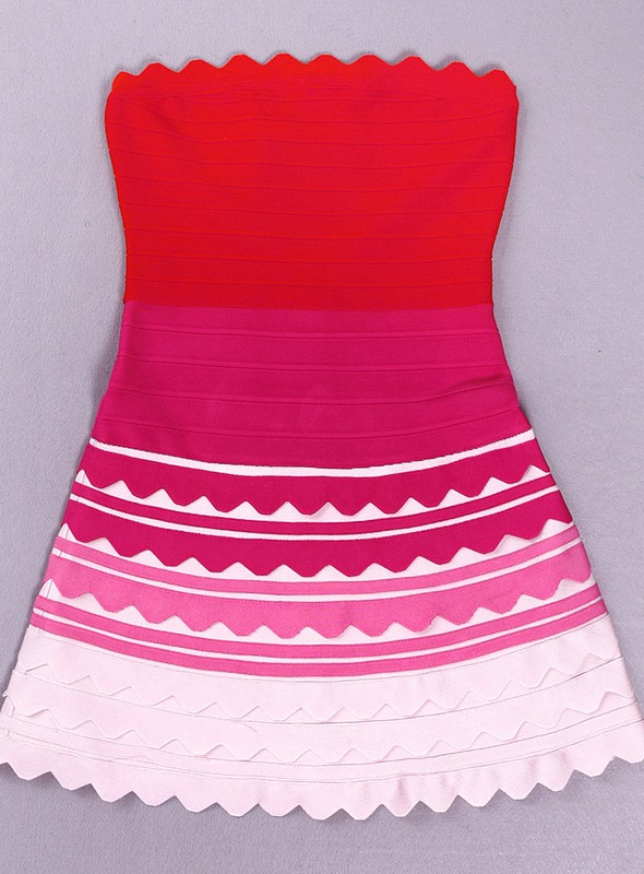 Fine Multi-Coloured Strapless Tiered A-Line Little Party Dress