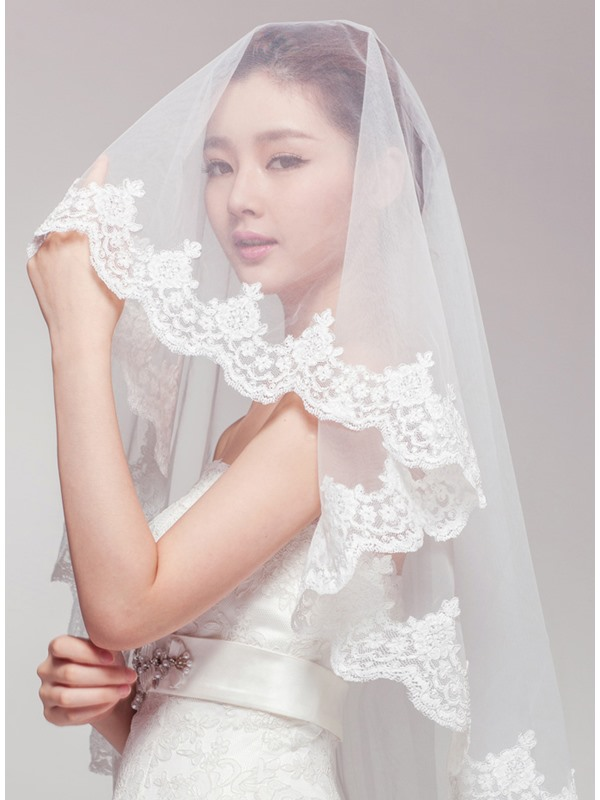Lace Trim Edge Ivory Wedding Veil