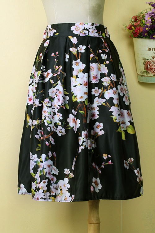 Floral Print Pleated Patchwork A-Line Skirt
