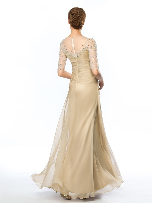 Delicate Sheer Neckline Half Sleeves Beading Floor-Length Evening Dress