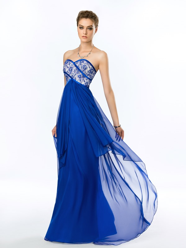 Delicate heart Beading Lace Strapless Long Prom Dress