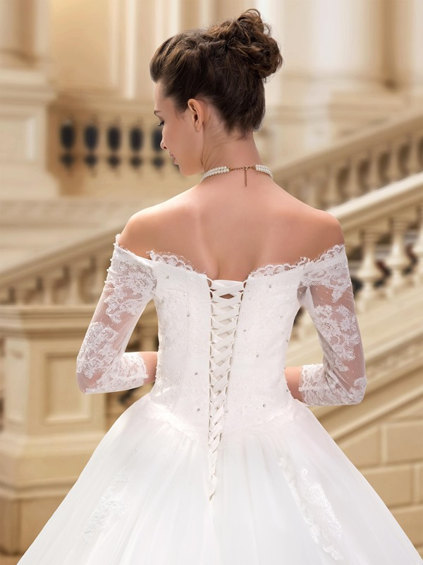 Sweetheart Off The Shoulder Lace Appliques Long Sleeve Wedding Dress