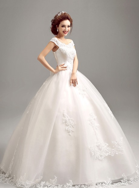Dazzling Off the Shoulder Short Sleeve Ball Gown Wedding Dress