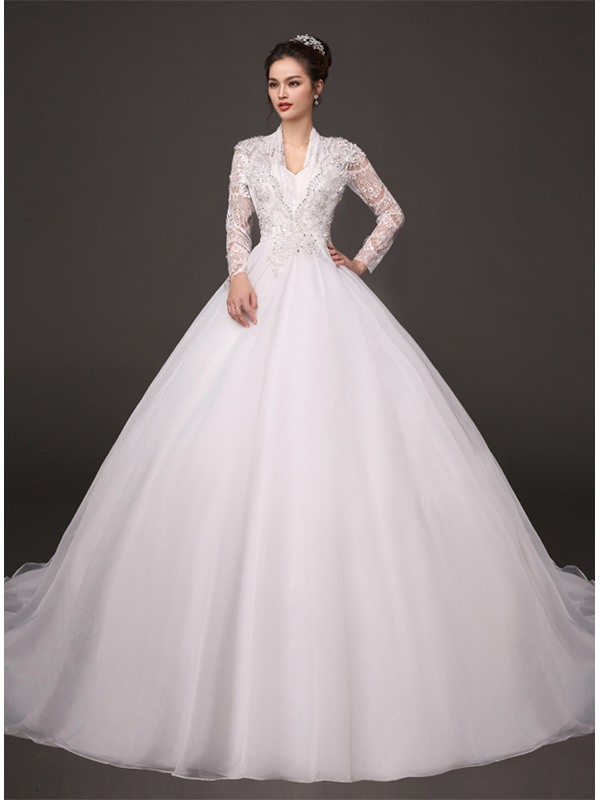 Dazzling Beaded V-Neck Puffy A-Line Sheer Lace Long Sleeve Wedding Dress